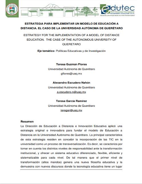 Estrategia para implementar un Modelo de Educación a Distancia. El caso de la Universidad Autónoma de Querétaro