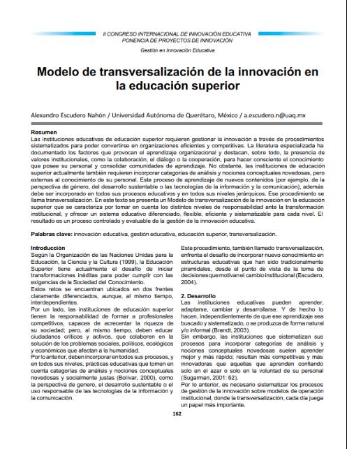 Modelo de transversalización de la innovación en la educación superior