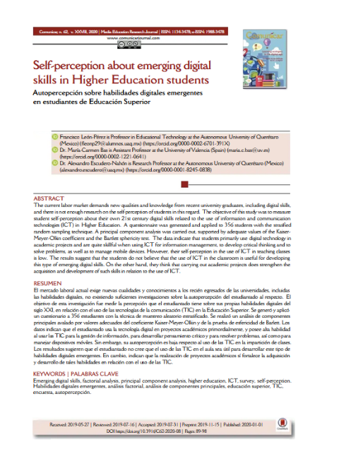 Self-perception about emerging digital skills in Heigher Education students