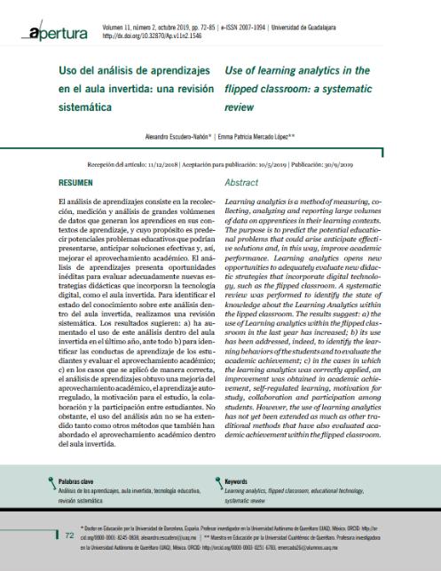 Uso del análisis de aprendizajes en el aula invertida: una revisión sistemática