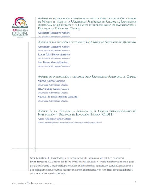 Análisis de la educación a distancia en instituciones de educación superior en México: el caso de la Universidad Autónoma de Chiapas, la Universidad Autónoma de Querétaro y el Centro Interdisciplinario de Investigación y Docencia en Educación Técnica