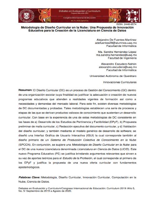Metodología de Diseño Curricular en la Nube: Una Propuesta de Innovación Educativa para la Creación de la Licenciatura en Ciencia de Datos