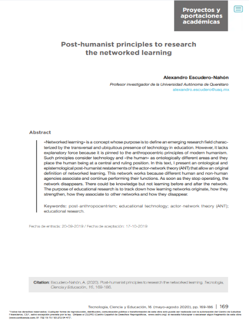 Post-humanist principles to research the networked learning