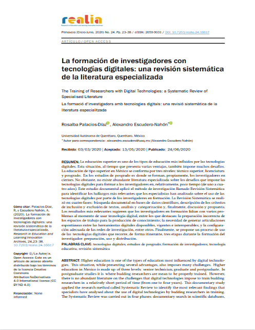 La formación de investigadores con tecnologías digitales: una revisión sistemática de la literatura especializada