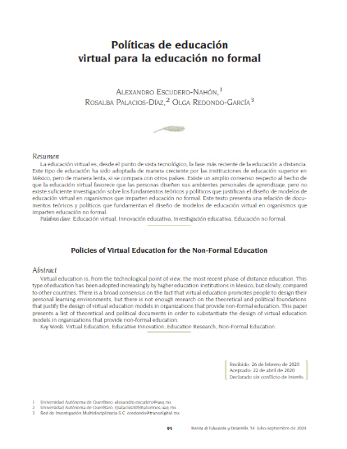 Políticas de educación virtual para la educación no formal