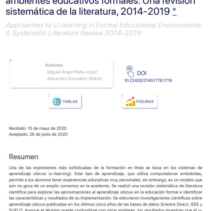 Aproximaciones al aprendizaje ubicuo en ambientes educativos formales. Una revisión sistemática de la literatura, 2014-2019