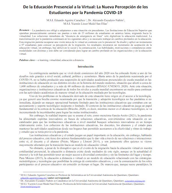 De la Educación Presencial a la Virtual: La Nueva Percepción de los Estudiantes por la Pandemia COVID-19