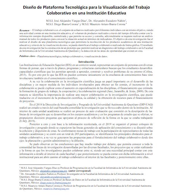 Diseño de Plataforma Tecnológica para la Visualización del Trabajo Colaborativo en una Institución Educativa