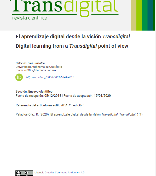 El aprendizaje digital desde la visión Transdigital