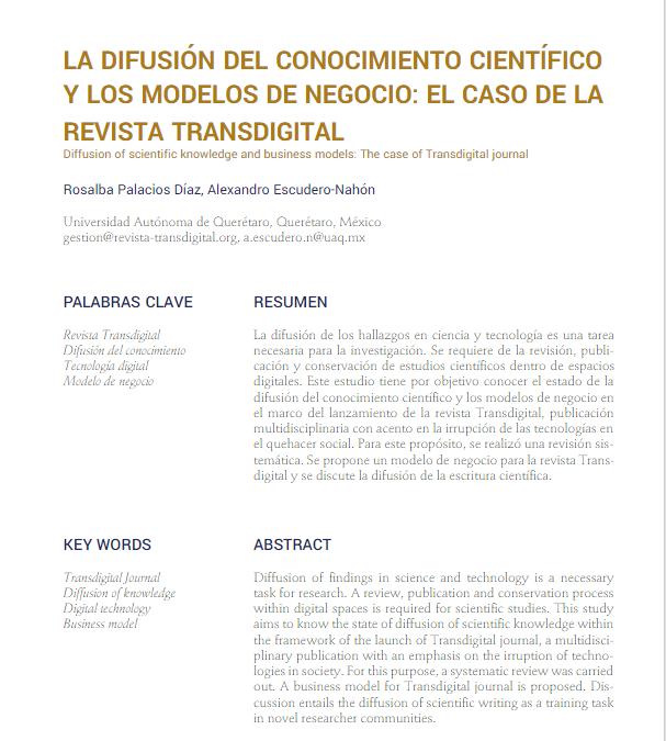 La difusión del conocimiento científico y los modelos de negocio: el caso de la revista Transdigital