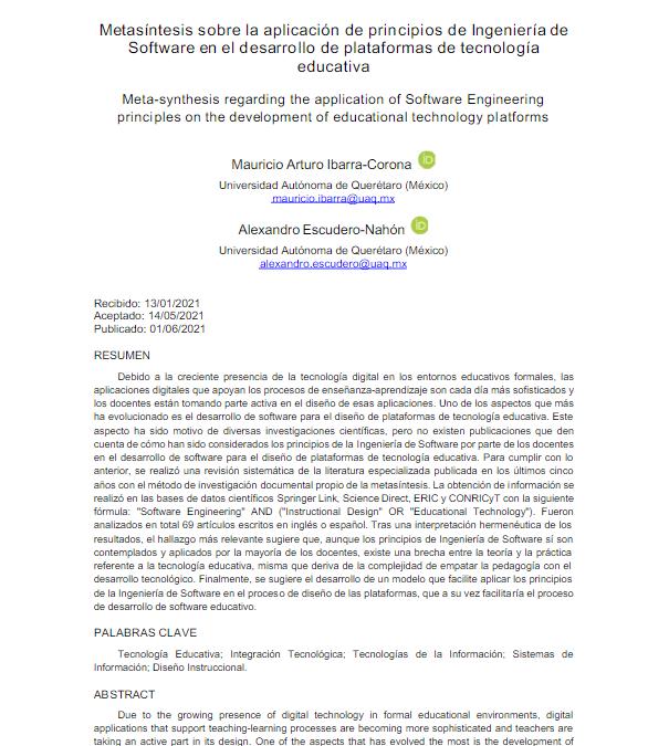 Metasíntesis sobre la aplicación de principios de Ingeniería de Software en el desarrollo de plataformas de tecnología educativa